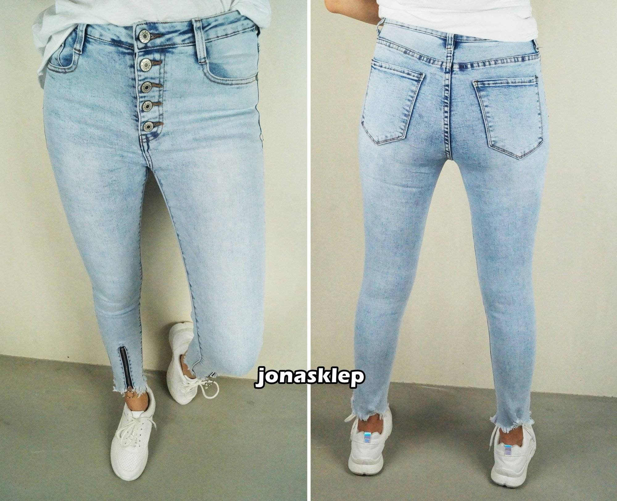 ADDICT jeansy PUSH UP zip JASNE zamki