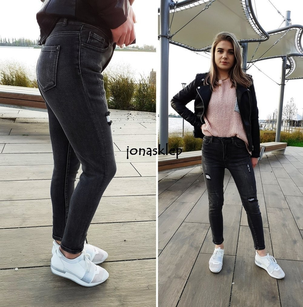 BILI GRAY jeans PUSH UP RURKI dziury