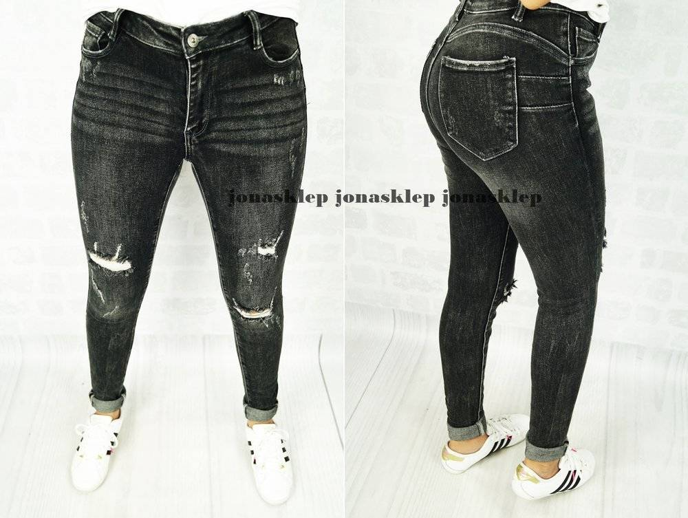 BLACK jeans PUSH UP HOLES dziury rurki ripped