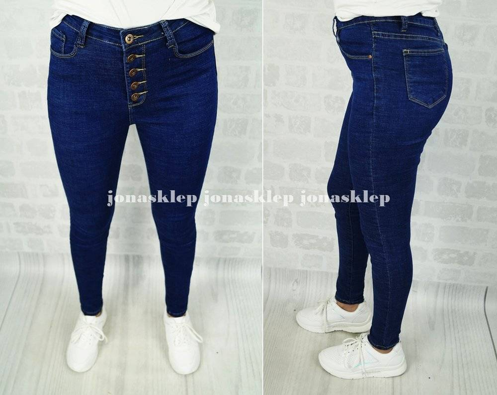BLUE rurki z guzikami BUTTON slim fit high waist