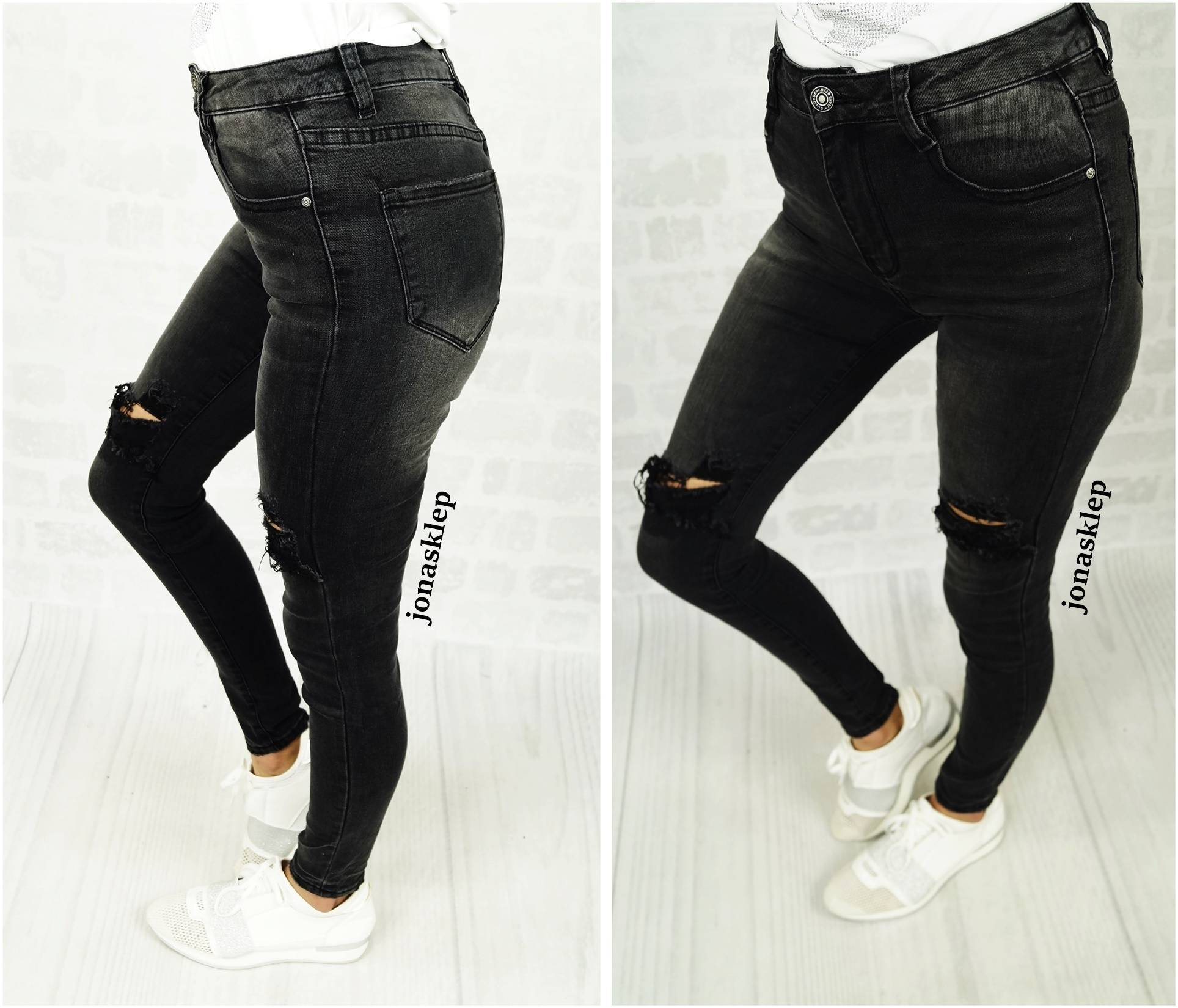 CROP JEANS DZIURY pazurki GRAY hot