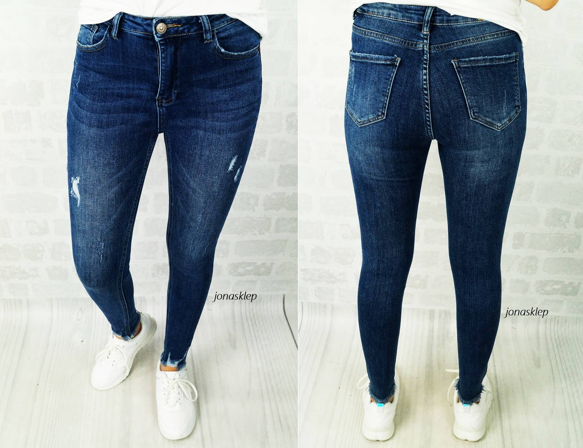 Classic jeans DARK DENIM przetarcia LESS rurki