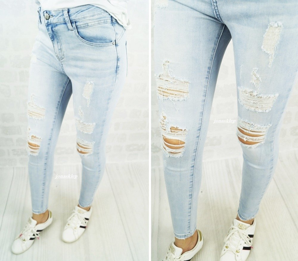 DENIM PUSH UP JEANS dziury holes jasne