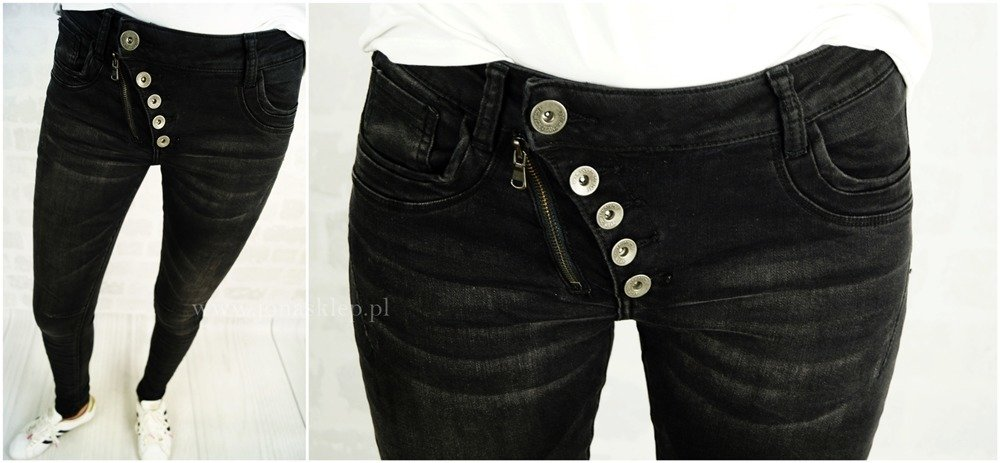 NEW zdobienia JEANS PUSH UP BLACK