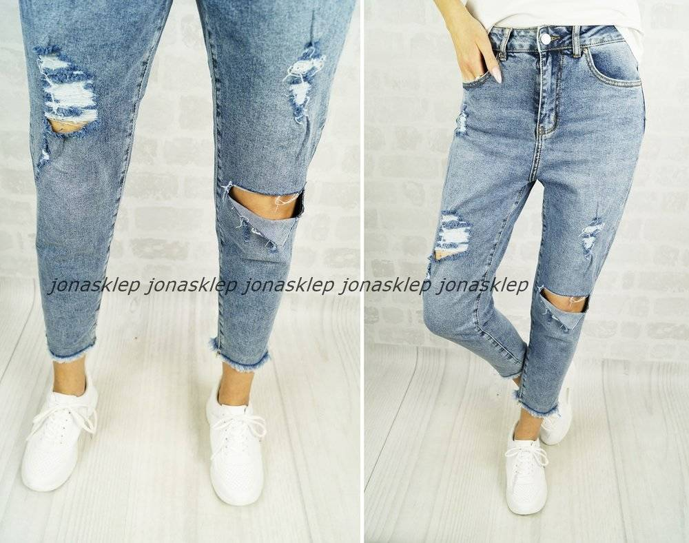 RELAXED MOM FIT JEANS dziury sabrin