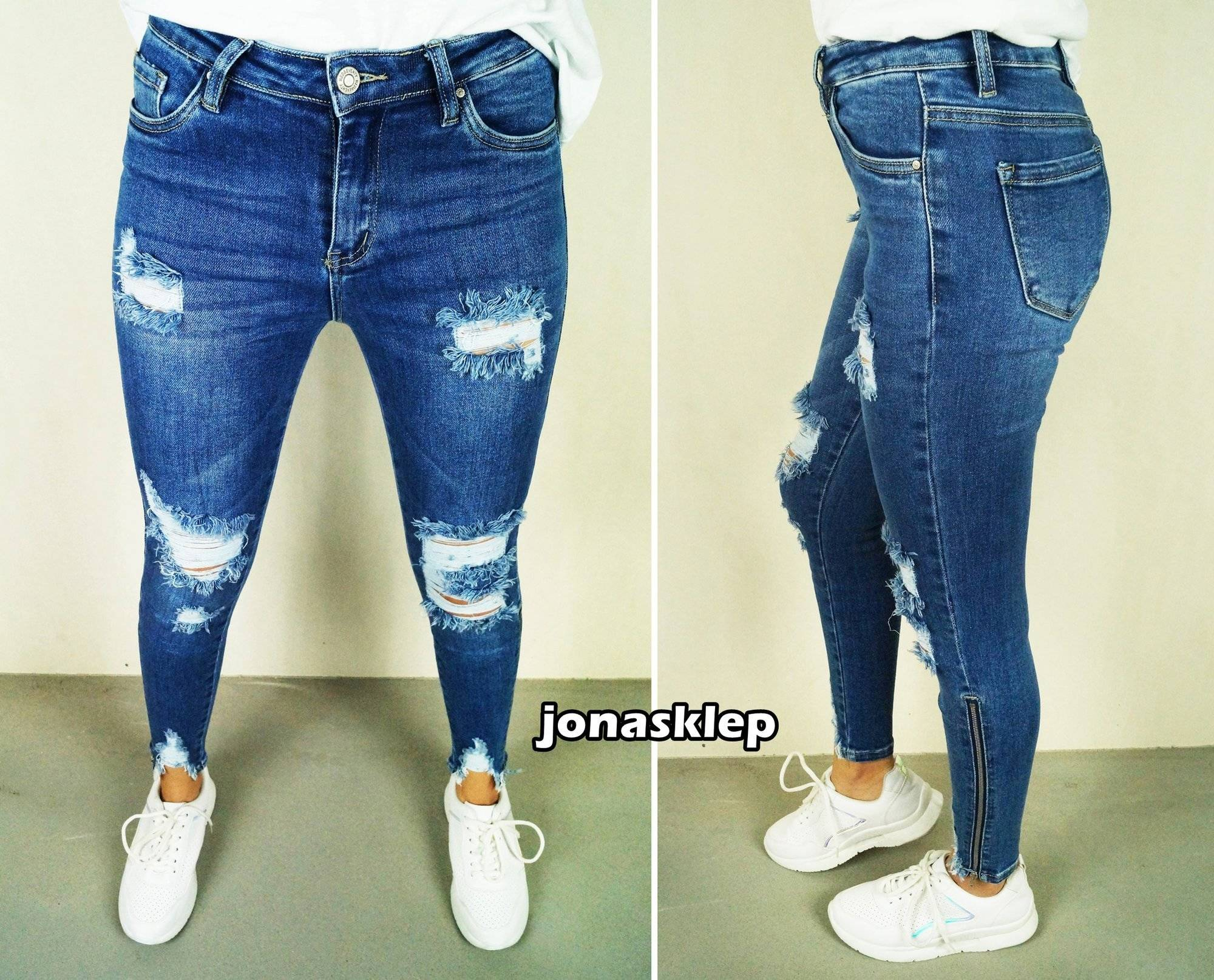 SUPER SLIM FIT jeansy COCO zip HOLES blue