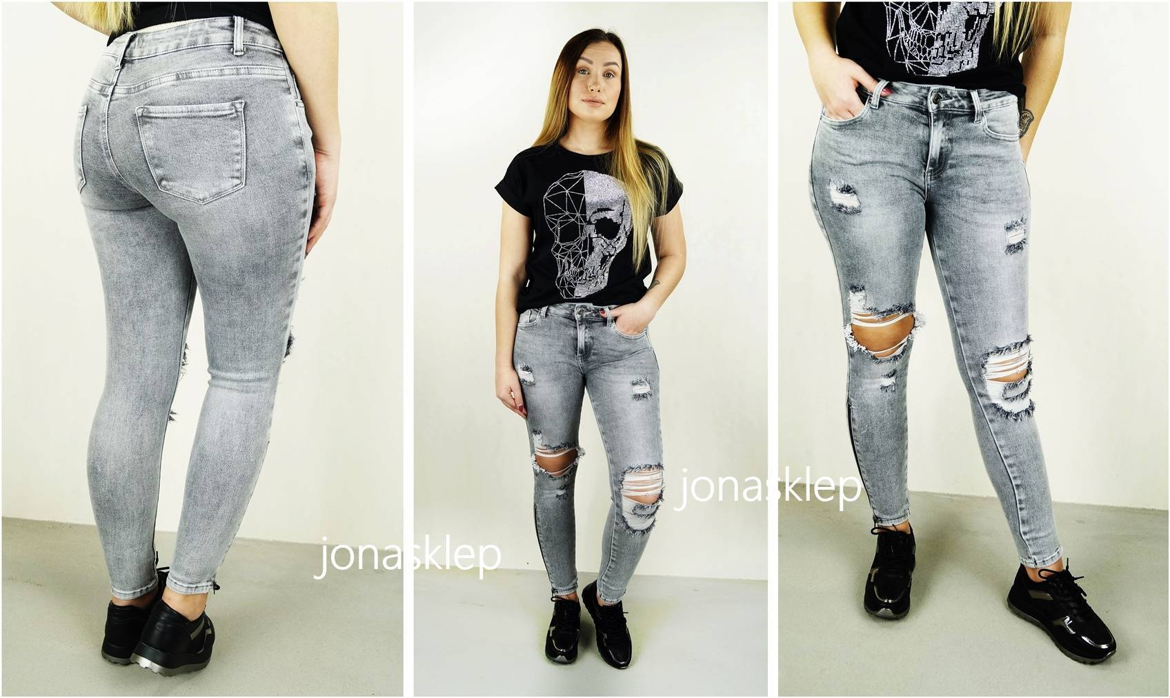 SUPER SLIM FIT jeansy COCO zip HOLES gray