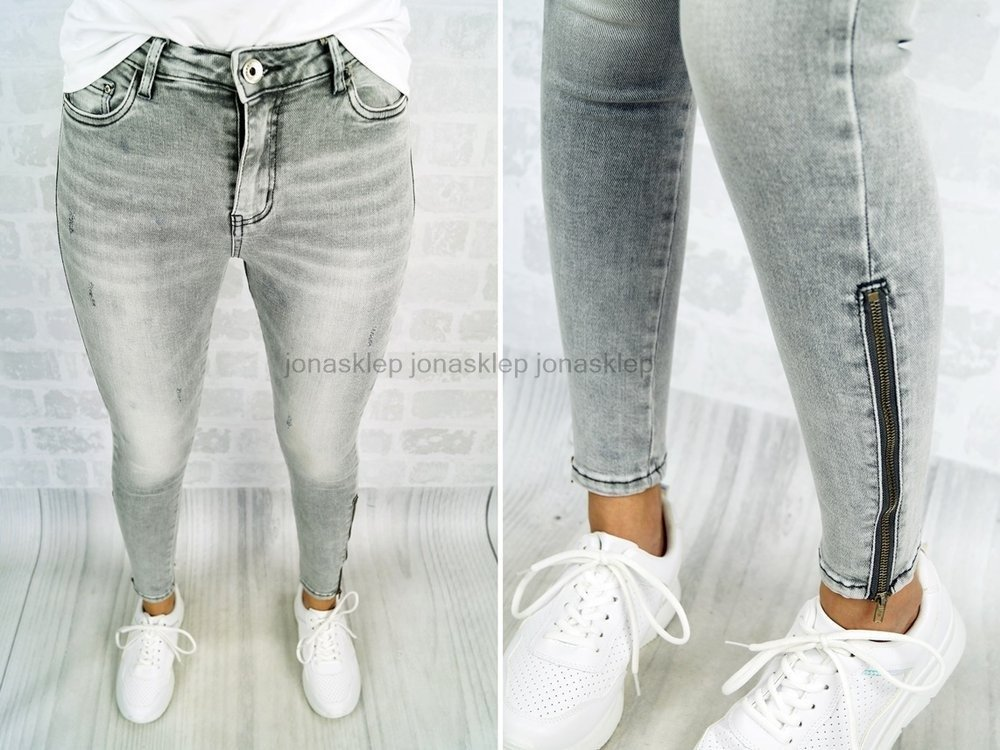 SUPER SLIM FIT jeansy COCO zip gray