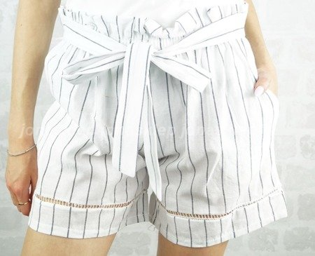SZORTY stripes len BOW white