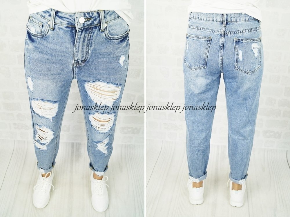 new MOM FIT boyfriendy z dziurami HOLES baggy