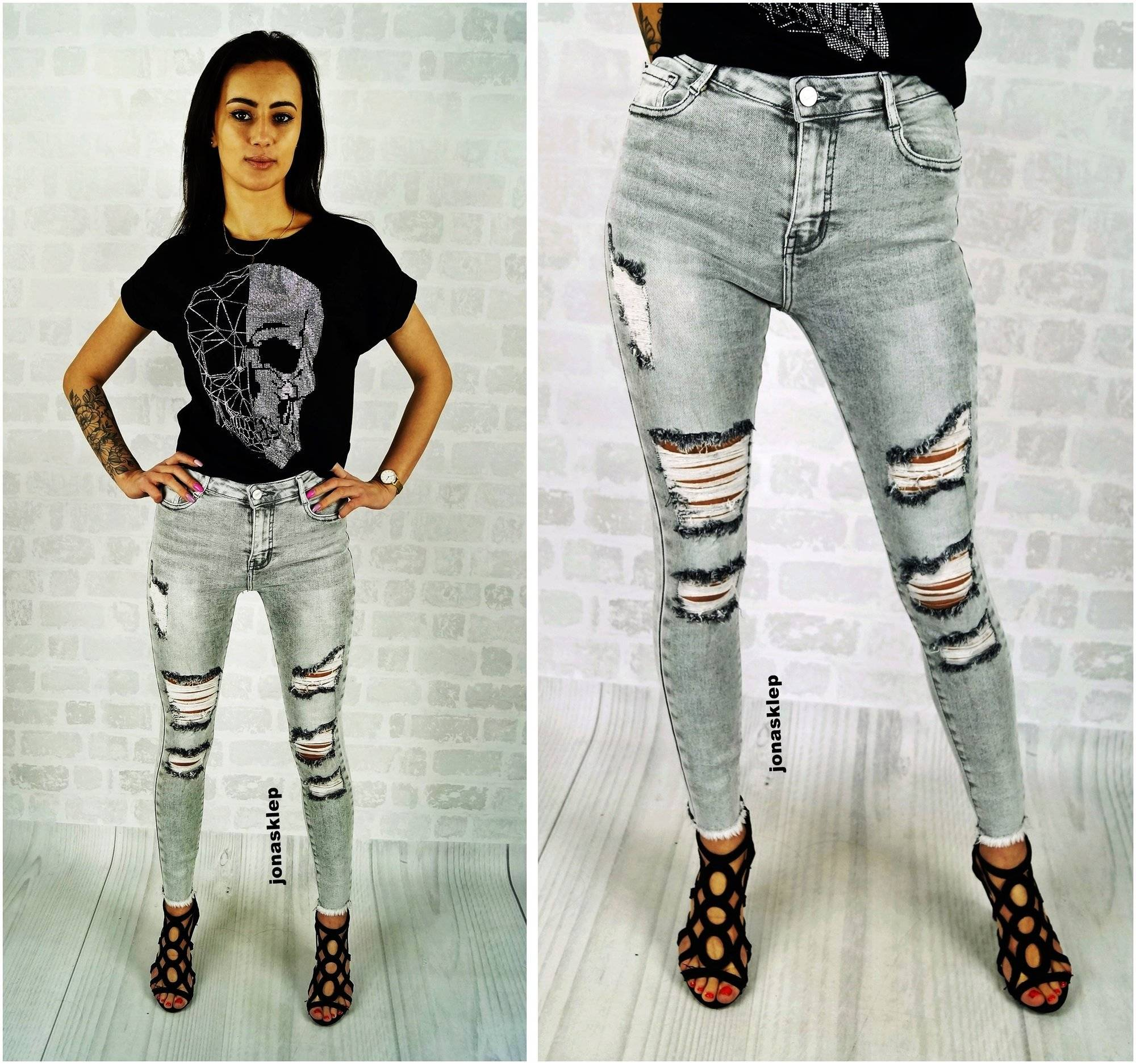 ripped PUSH UP JEANS dziury holes gray